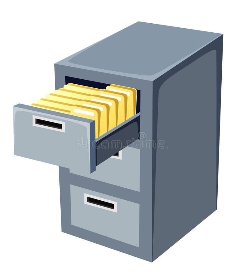 Шкаф архива с открытым иллюстрация вектора