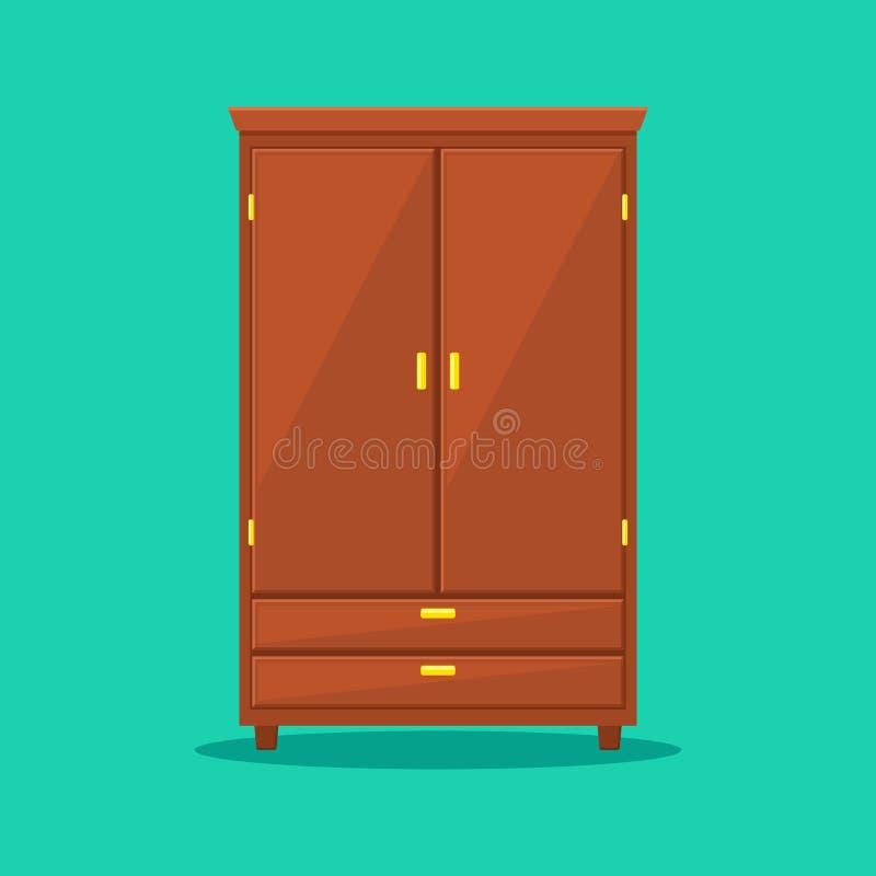 Шкаф изолированный на предпосылке Естественная деревянная мебель Значок шкафа в плоском стиле Шкаф элемента комнаты внутренний к бесплатная иллюстрация