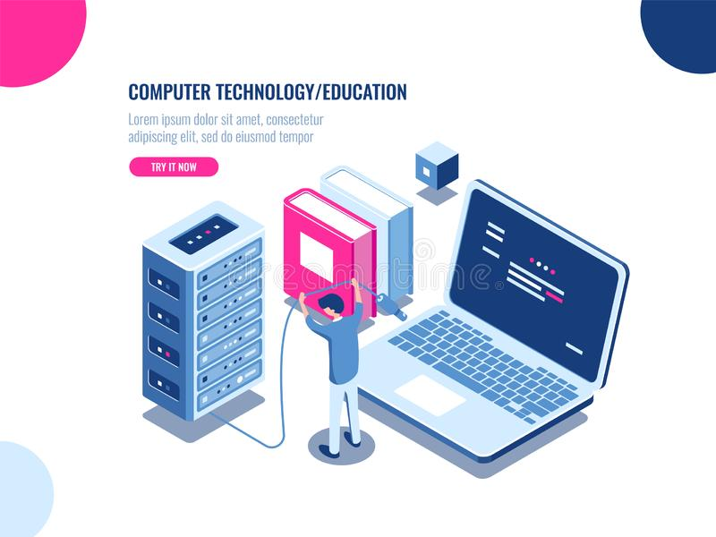 Шкаф комнаты сервера, центр данных и значок базы данных равновеликий, ферма шкафа сервера, технология blockchain, веб - хостинг,  иллюстрация штока