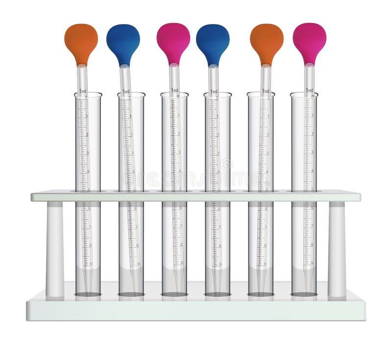 Шкаф лаборатории со стеклянными пробирками и измеряя пипетками лаборатории Комплект оборудования для анализа и экспериментов иллюстрация штока