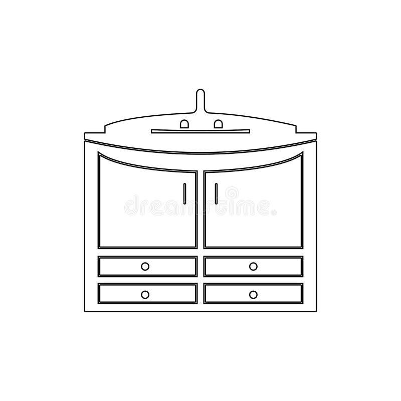 шкаф под значком плана раковины r r Знаки, собрание символов иллюстрация штока