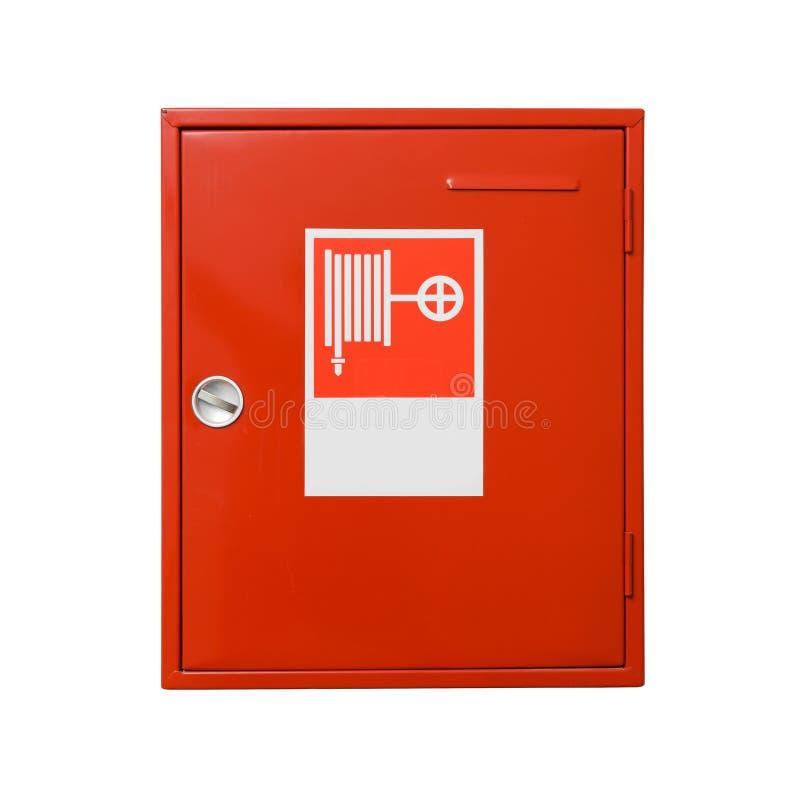 Шкаф пожарного рукава изолированный на белой предпосылке клиппирование цели включает путь стоковые изображения rf