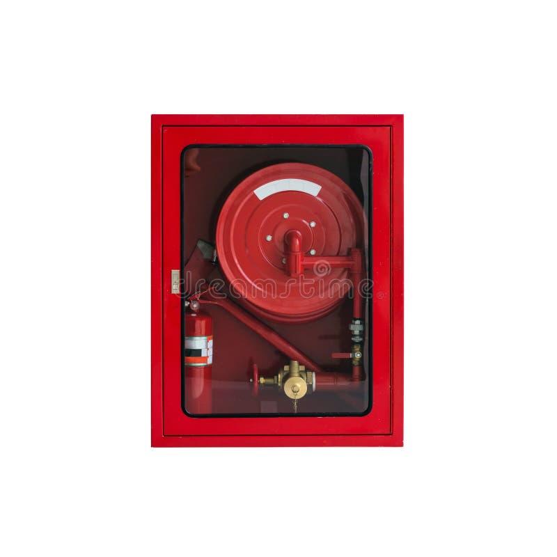 Шкаф пожарного рукава на белизне стоковое фото rf