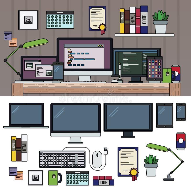 Шкаф программиста работая иллюстрация вектора