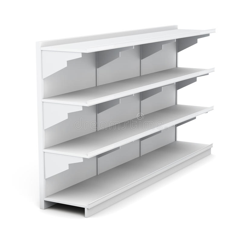 Шкаф супермаркета с пустыми полками на белой предпосылке иллюстрация штока