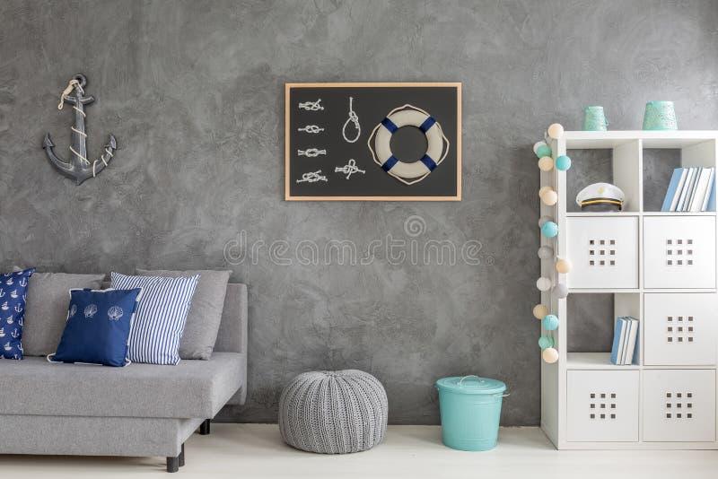 Шкаф Minimalistic в сером интерьере комнаты иллюстрация штока