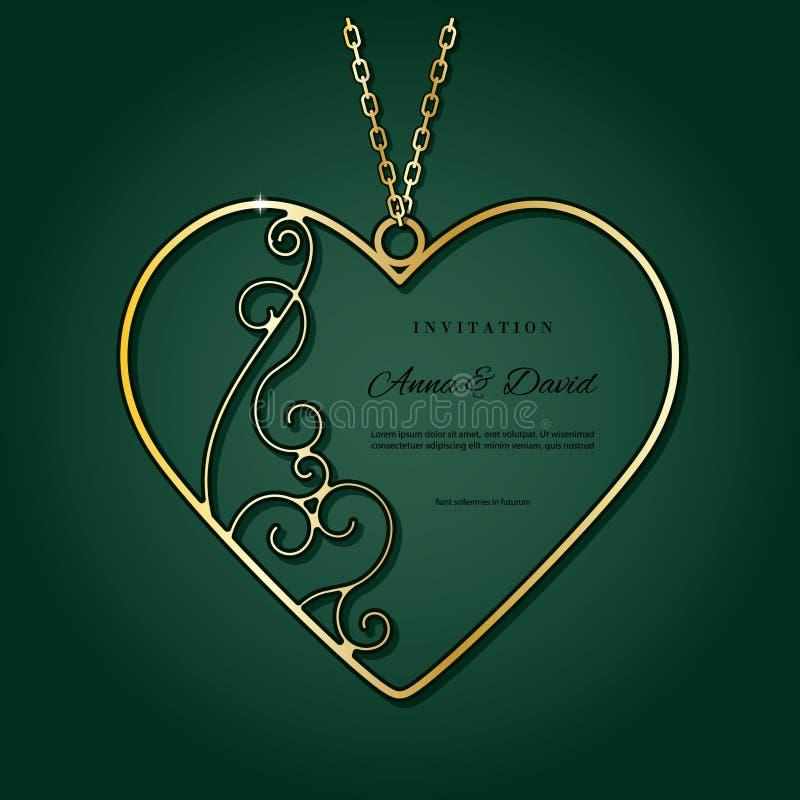 Шкентель золота в форме сердца бесплатная иллюстрация