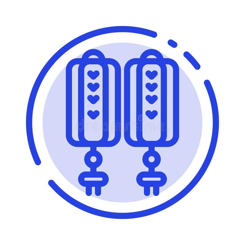 Шкентель, Китай, китаец, линия значок голубой пунктирной линии украшения бесплатная иллюстрация