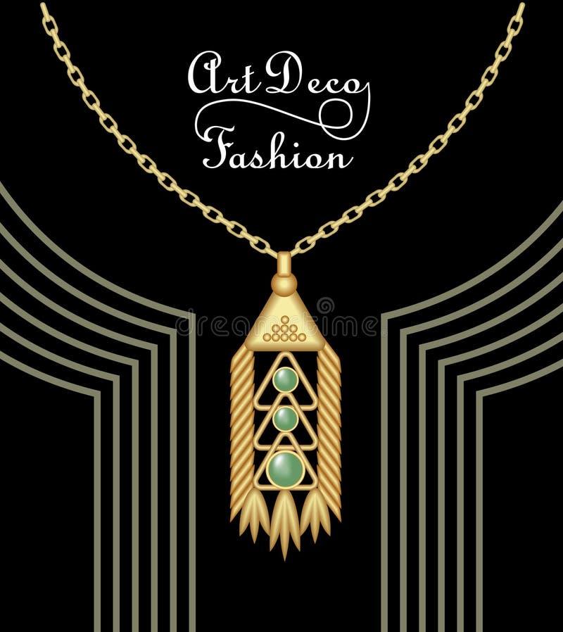 Шкентель роскошного стиля Арт Деко филигранный, драгоценность с зеленым изумрудом на золотой цепи, античных элегантных ювелирных  иллюстрация штока