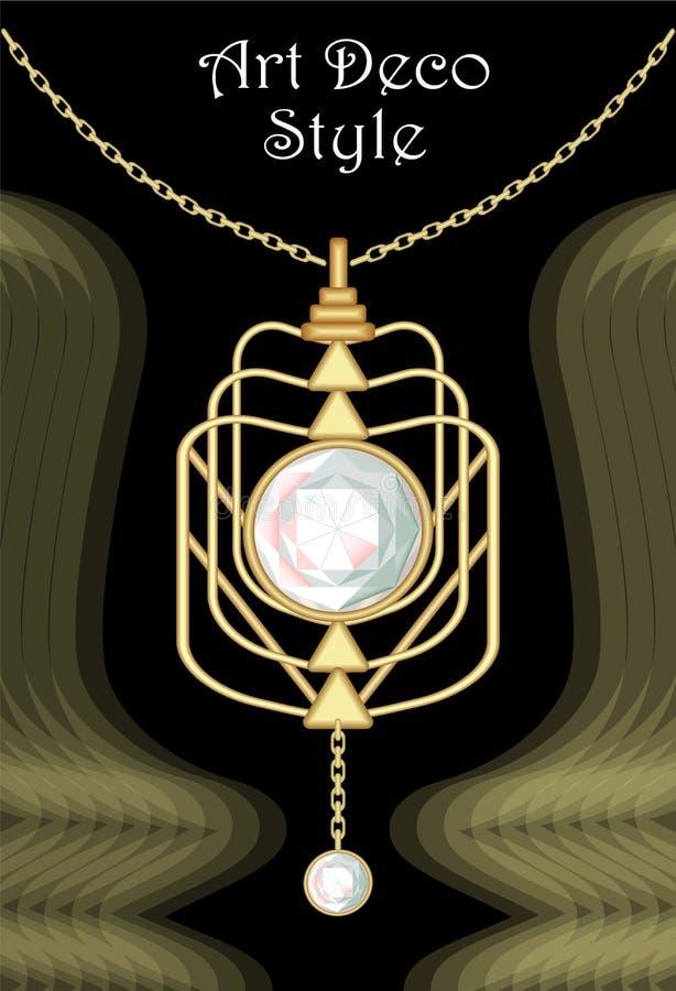 Шкентель роскошного стиля Арт Деко филигранный, драгоценность с worn диамантом на золотой цепи, античных элегантных ювелирных изд бесплатная иллюстрация