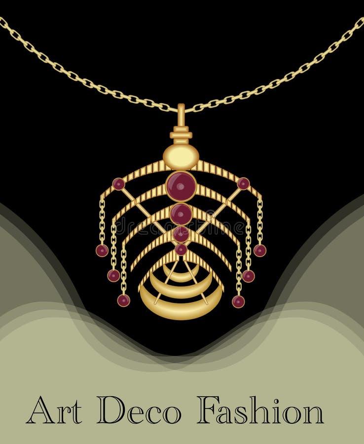 Шкентель роскошного стиля Арт Деко филигранный, необыкновенная драгоценность с красным рубином на золотой цепи, античных элегантн иллюстрация штока