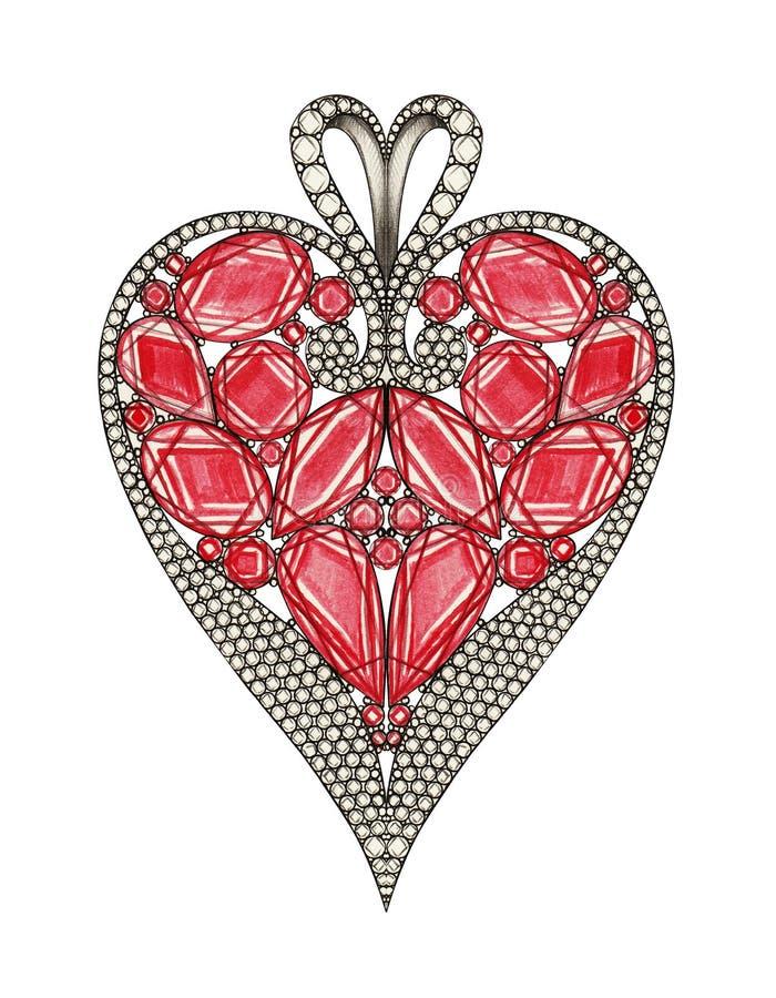 Шкентель сердца дизайна ювелирных изделий лидирующий бесплатная иллюстрация