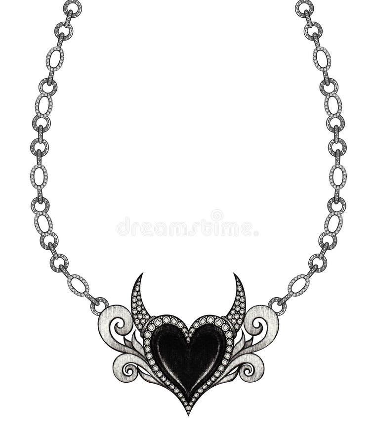 Шкентель сердца дьявола дизайна ювелирных изделий иллюстрация штока