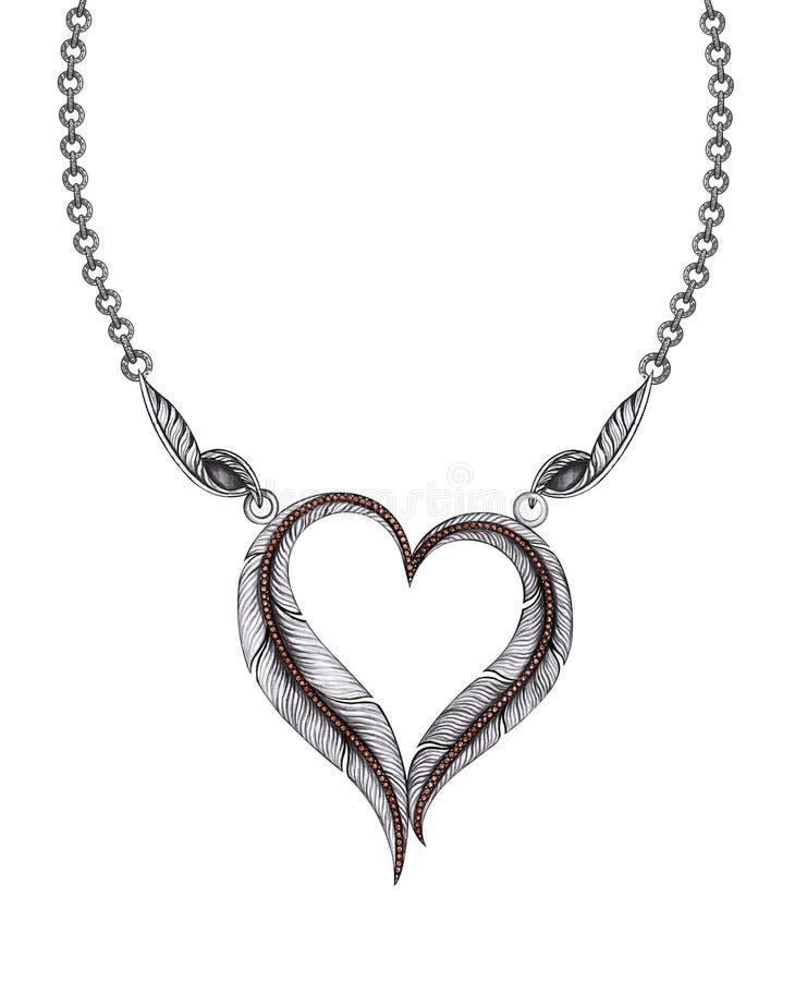 Шкентель сердца пера дизайна ювелирных изделий иллюстрация вектора