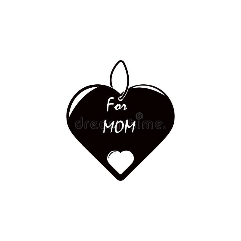 шкентель с значком мамы влюбленности Элемент дня матери для передвижных apps концепции и сети Изолированный шкентель с значком ма иллюстрация штока