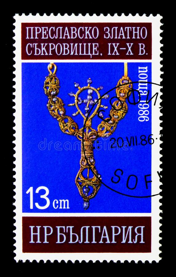 Шкентель с крестом жемчуга, золотое сокровище Preslav (9th-10 стоковое изображение