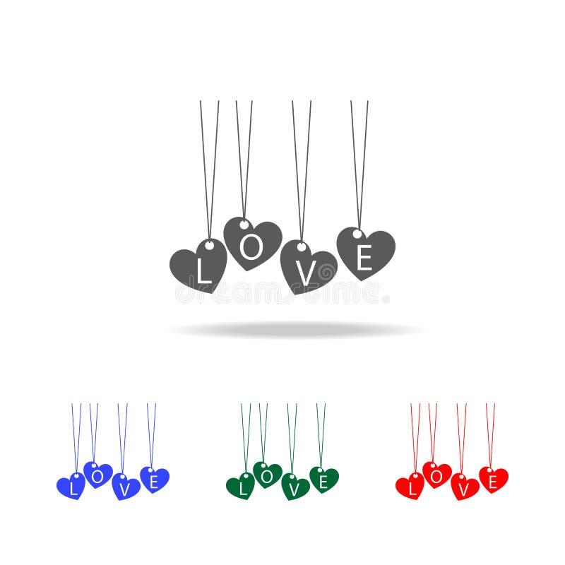 шкентель с сердцами значка влюбленности Элементы валентинки \ 'дня s в multi покрашенных значках Наградной качественный значок гр иллюстрация штока