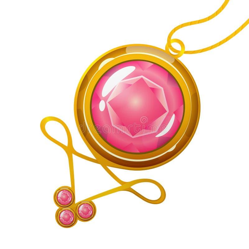 Шкентель шаржа с розовым кристаллическим самоцветом иллюстрация штока