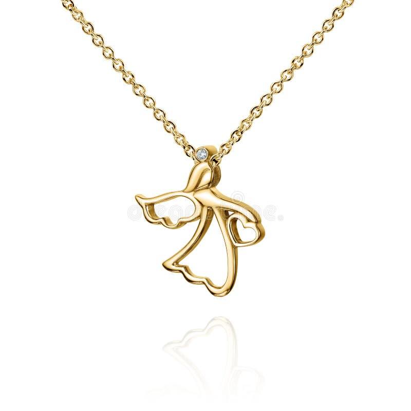 Шкентель ювелирных изделий золотой с диамантом, ангелом с крылами, золотой цепью, желтым золотом, изолированным на белизне стоковое изображение rf