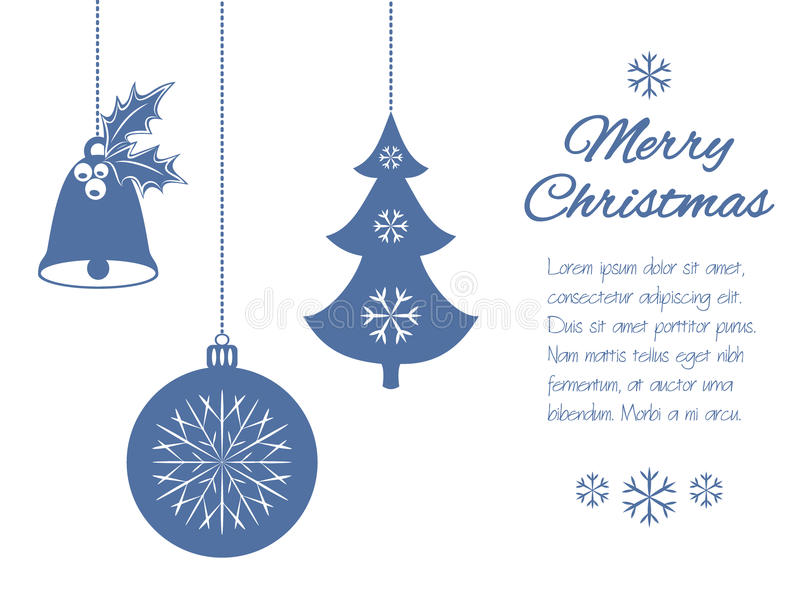 Шкентели рождества: колокол с падубом, шариком и елью Всеобщая граница, на белой предпосылке с местом иллюстрация штока
