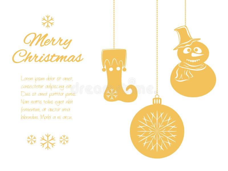 Шкентели рождества: снеговик в шляпе и шарфе, шарике и чулке Всеобщая граница, изолированная на белой предпосылке с бесплатная иллюстрация