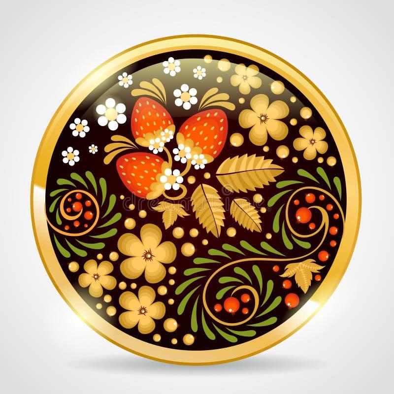 Шкентель декоративного khokhloma золотой иллюстрация штока