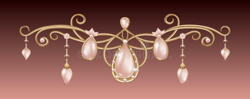 Шкентель золота с розовым diadem с украшениями жемчугов праздничными с диамантами иллюстрация штока