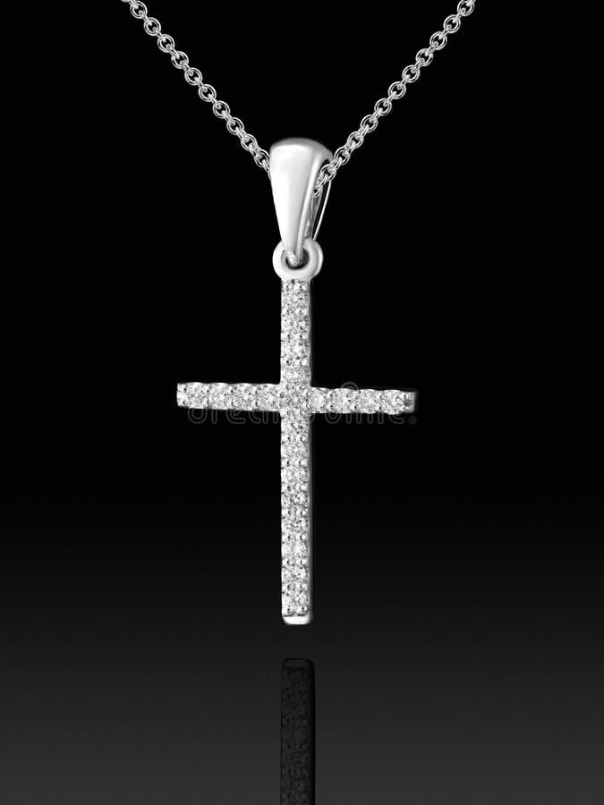 Шкентель креста белого золота с диамантами стоковая фотография