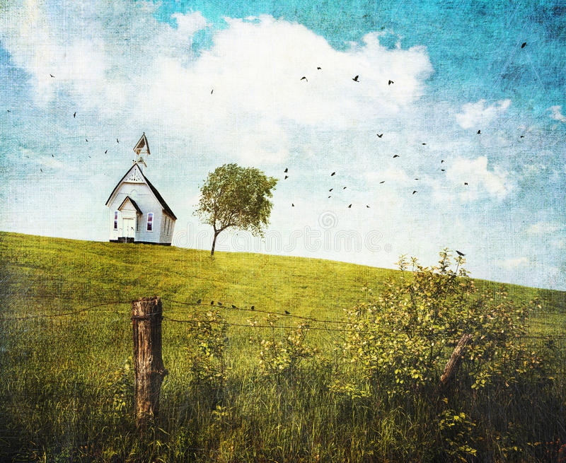 школа дома холма страны старая стоковое фото