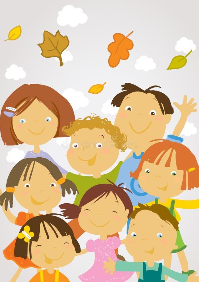 школа задних детей счастливая к иллюстрация вектора