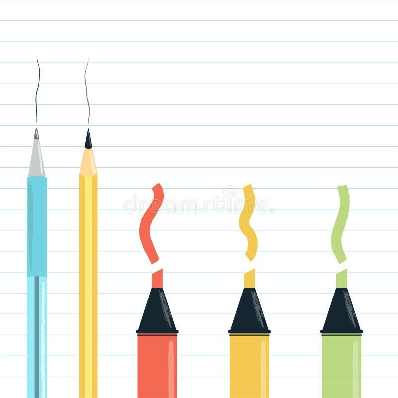 Школа или канцелярские товары иллюстрация штока