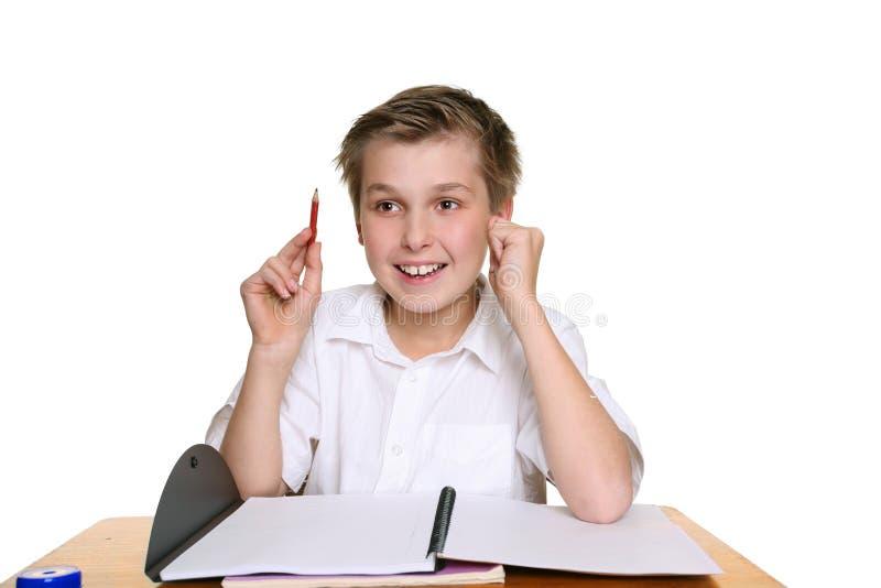 школа мальчика яркая счастливая стоковая фотография rf