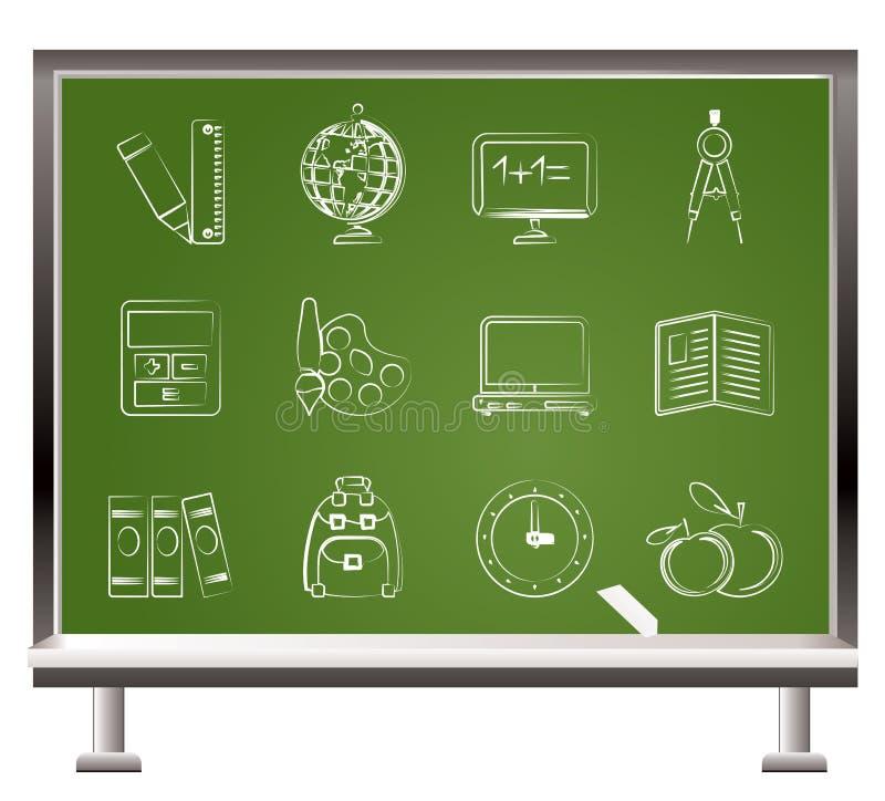 школа образования мелка покрашенная иконами иллюстрация вектора
