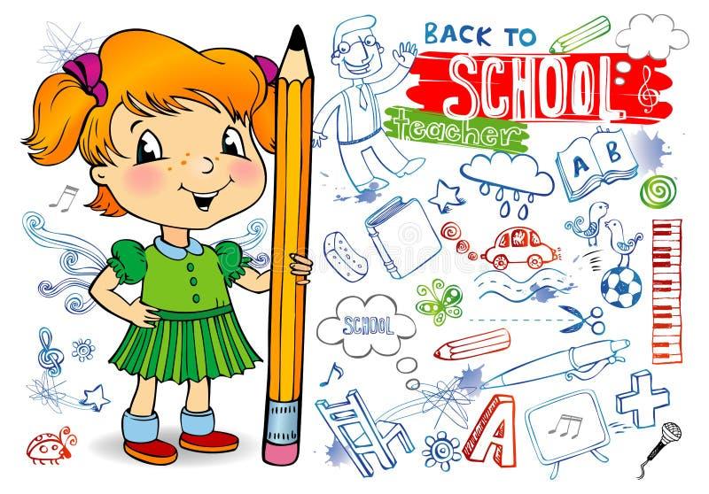 школа doodles иллюстрация вектора