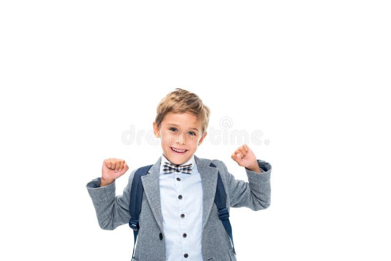 Школьник празднуя победу стоковые фотографии rf