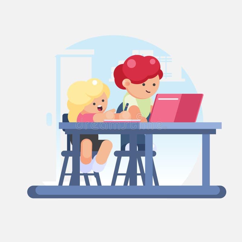 Школьница маленькой девочки и школьник мальчика делая домашнюю работу Рабочее место детей для исследования Иллюстрация вектора кр иллюстрация вектора