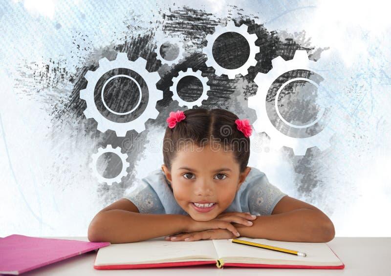 Школьница на столе с cogs шестерней установок иллюстрация вектора