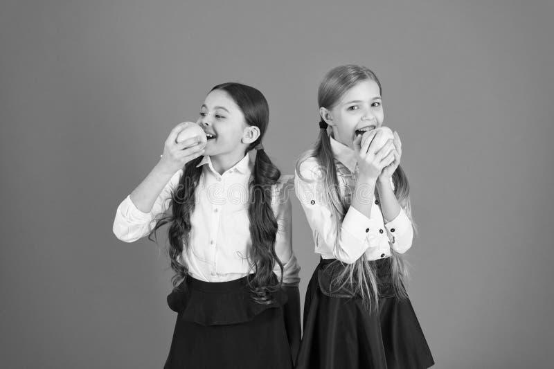 Школьницы едят яблоки Школьный обед Питание витамина во время учебного дня Принятие студента поддержки плода стоковые изображения rf