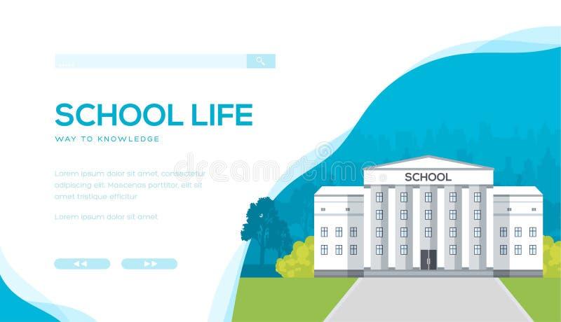Школьное здание против городской предпосылки с деревьями иллюстрация штока