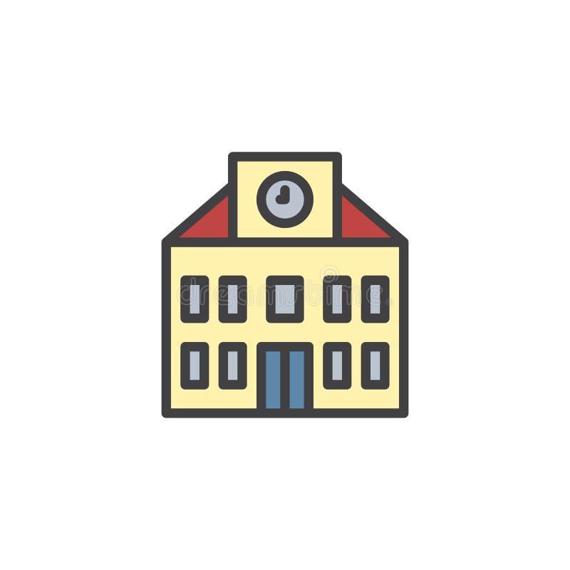Школьное здание с заполненным часами значком плана иллюстрация штока
