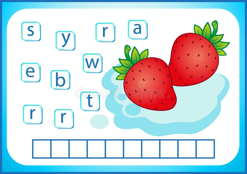 Школьное образование Английское flashcard для учить английский язык Мы пишем имена овощей и плодоовощей Слова игра головоломки дл иллюстрация вектора