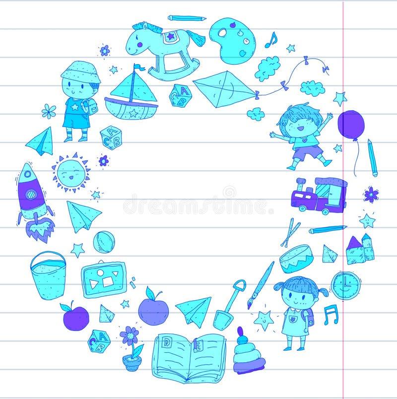 Школьное образование Preschool питомника детского сада с детьми Doodle дети картины играет и изучает мальчиков и детей девушек иллюстрация вектора