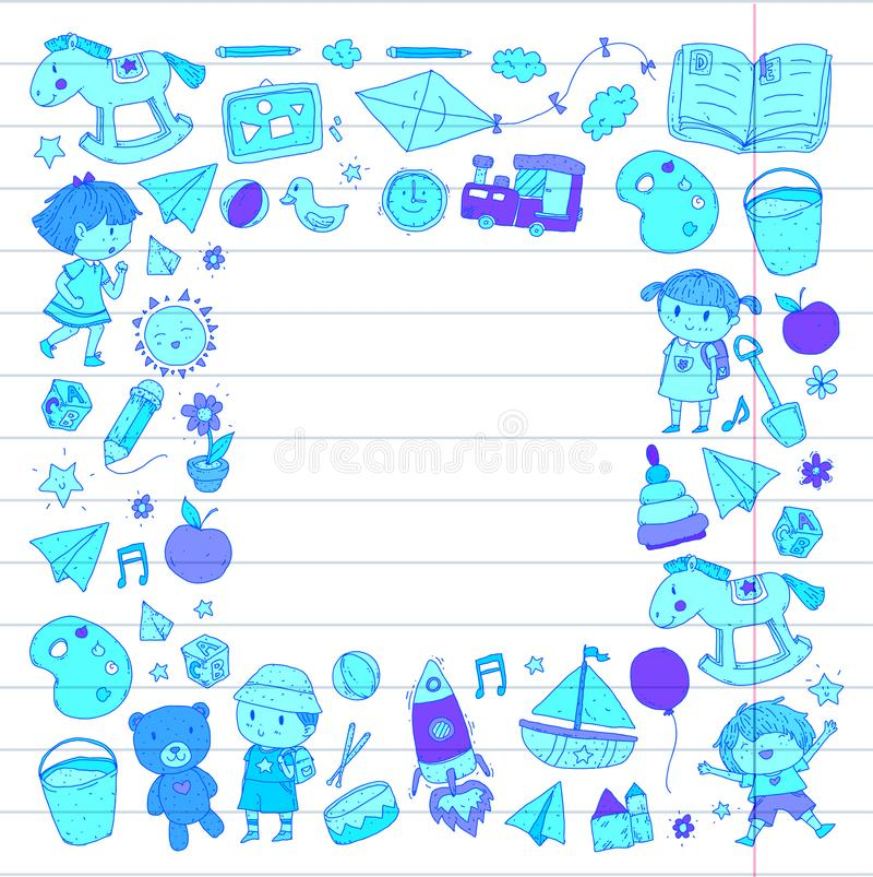 Школьное образование Preschool питомника детского сада с детьми Doodle дети картины играет и изучает мальчиков и детей девушек иллюстрация штока