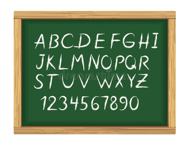 Школьное правление с алфавитом мелка иллюстрация вектора