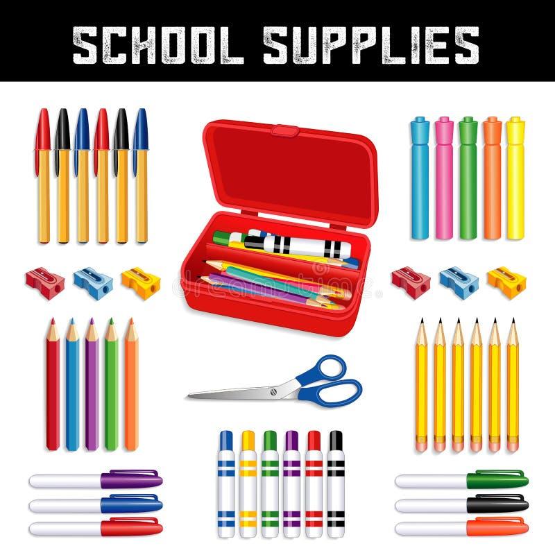 Школьные принадлежности, коробка карандаша иллюстрация вектора