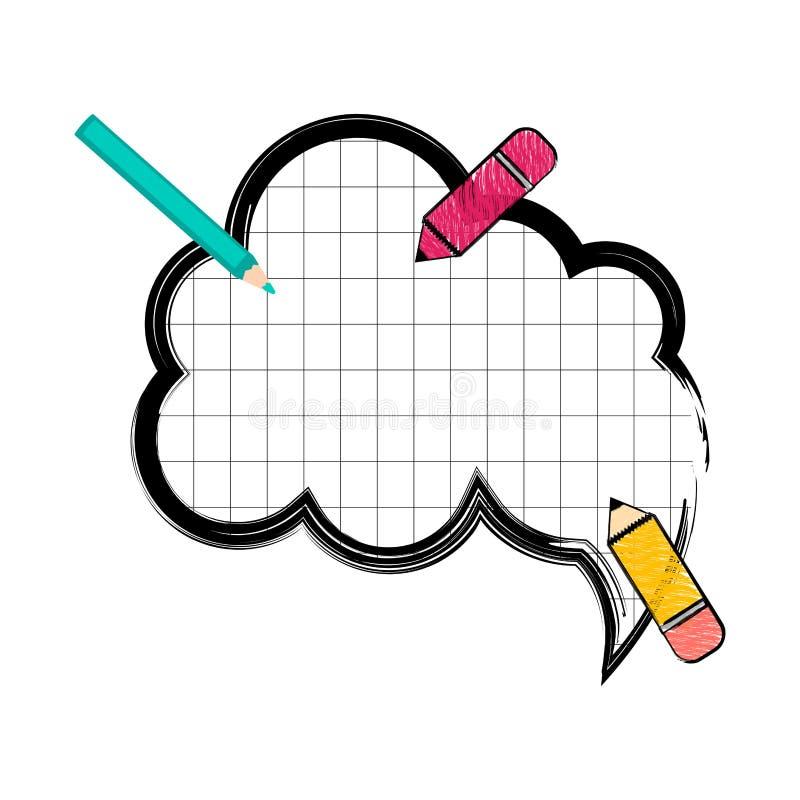 Школьные принадлежности с шуточным пузырем речи иллюстрация штока