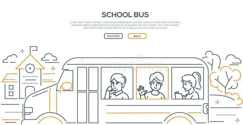 Школьный автобус - современная линия знамя стиля дизайна иллюстрация вектора