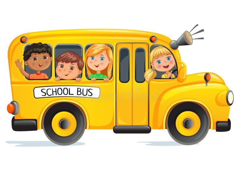 Школьный автобус с детьми стоковая фотография rf