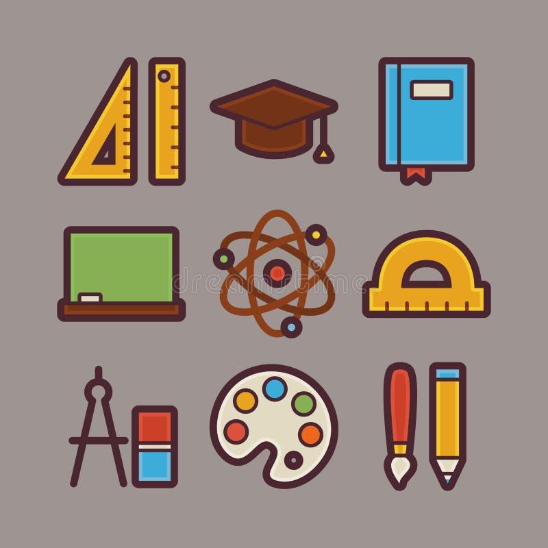 Школа и установленные значки деталей образования современные плоские иллюстрация штока