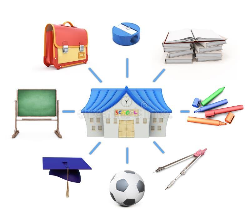 Школа и школьные принадлежности на белой предпосылке 3d разрывают иллюстрация вектора